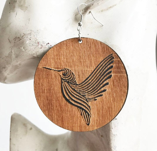 Wooden Hummingbird Earrings
