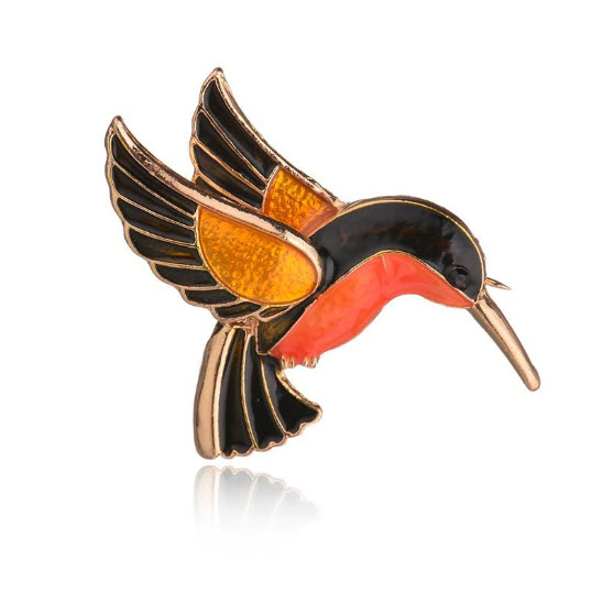 Cute and Colorful Hummingbird Brooch