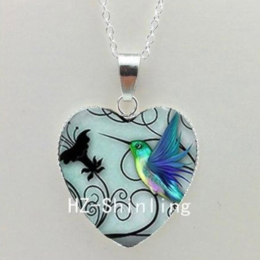 Heart Hummingbird Necklace