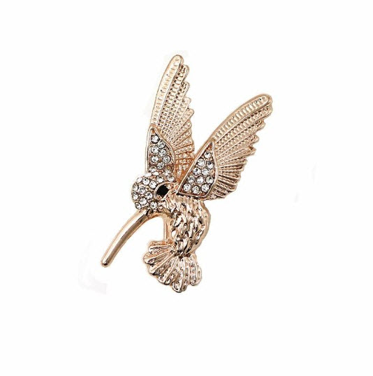 Rose Gold Hummingbird Brooch